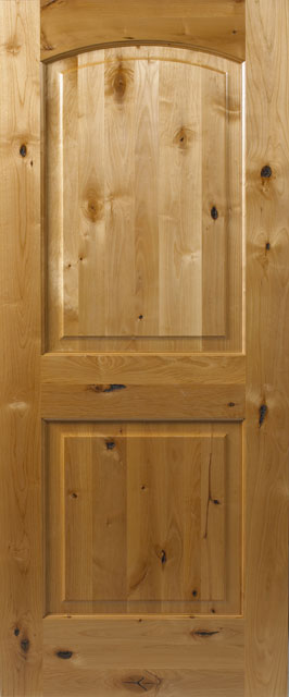 Clear Finish, Knotty Alder 2 Panel Raised Arch CF