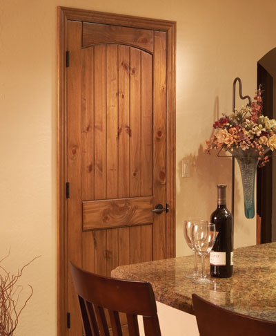 Knotty Pine V-Groove 2-Panel Arch (stained)7 & Sierra wood interior doors french doors exterior entry doors ...